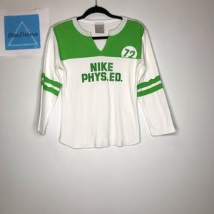 Nike white and lime green long sleeved shirt